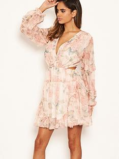 ax-paris-floral-chiffon-side-cut-dress-pinknbsp