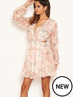 ax-paris-floral-chiffon-side-cut-dress-pinknbsp