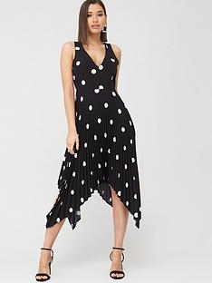 ax-paris-polka-dot-pleated-midi-dress-black