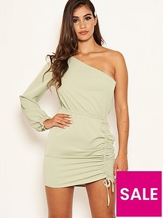 ax-paris-petite-one-sleeve-ruched-dress-sagenbsp