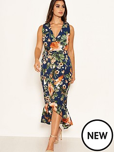 ax-paris-floral-printed-wrap-dress-navy