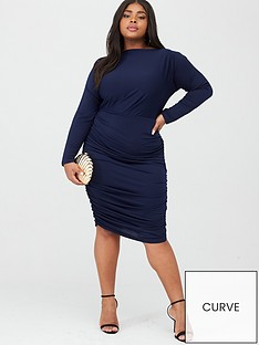 ax-paris-curve-slash-neck-ruched-dress