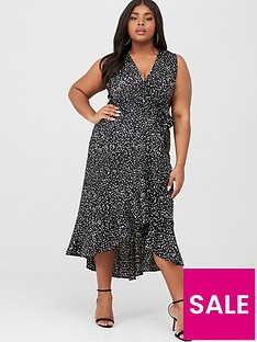 ax-paris-curve-wrap-spot-midi-dress-blackwhite