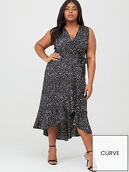ax-paris-curve-wrap-spot-midi-dress-blackwhite