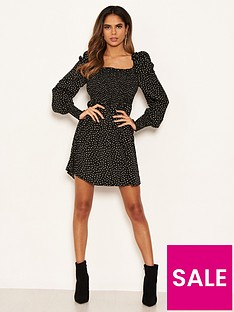 ax-paris-spotty-sheered-square-neck-dress-black