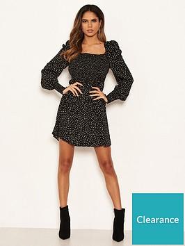 ax-paris-spotty-sheered-square-neck-dress-black