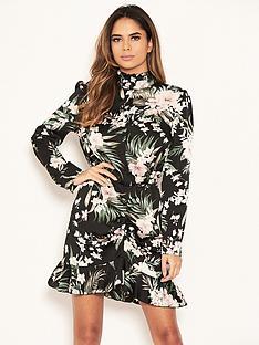 ax-paris-petite-floral-ruched-front-shirt-dress-black