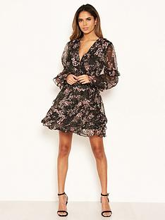ax-paris-chiffon-side-cut-out-skater-dress-black