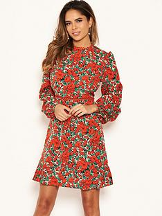 ax-paris-floral-crochet-trim-dress-red