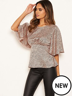 ax-paris-spotty-peplum-top-pink