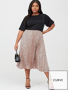 ax-paris-curve-2-in-1-pleated-skirt-dress-multi