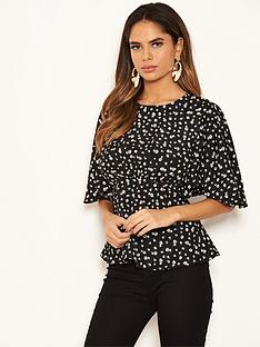 ax-paris-ditsy-floral-print-top-black