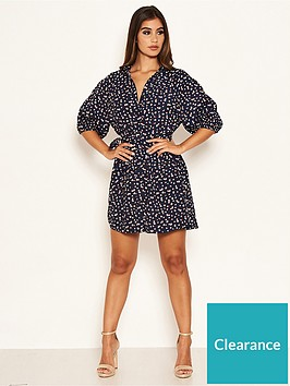 ax-paris-ditsy-floral-puff-sleeve-shirt-dress-navy