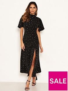 ax-paris-spotty-ruched-side-midi-dress-black