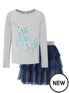 monsoon-girls-disco-naia-unicorn-top-and-skirt-set-navy