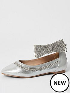 river-island-girls-embelished-bow-ballerina-pump-silver