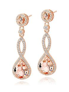 beaverbrooks-silver-rose-gold-plated-peach-cubic-zirconia-drop-earrings