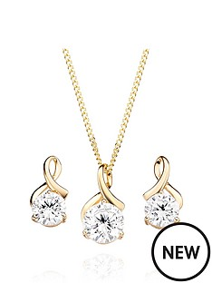 beaverbrooks-9ct-gold-cubic-zirconia-pendant-and-earrings-set