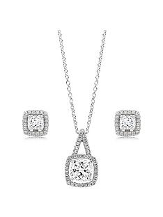 beaverbrooks-silver-cubic-zirconia-square-halo-pendant-and-earrings-set