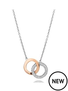 beaverbrooks-silver-and-rose-gold-plated-cubic-zirconia-double-circle-necklace