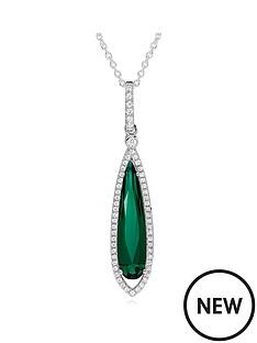 beaverbrooks-silver-green-cubic-zirconia-halo-drop-pendant