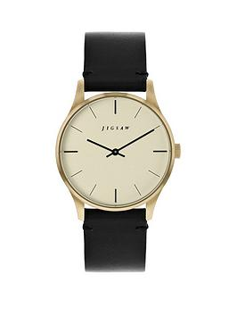jigsaw-jigsaw-champagne-with-black-and-gold-detail-dial-black-leather-strap-ladies-watch