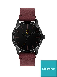 farah-farah-black-dial-dark-red-suedette-strap-mens-watch