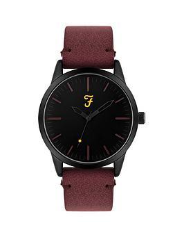 farah-farah-black-dial-dark-red-suedette-strap-mens-watch