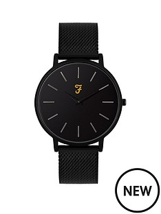 farah-farah-slim-jim-black-dial-black-stainless-steel-mesh-strap-mens-watch