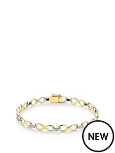 beaverbrooks-9ct-two-colour-gold-diamond-infinity-bracelet