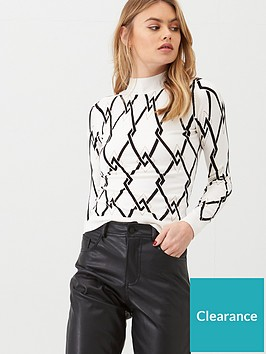 river-island-mono-print-button-detail-high-neck-knitted-top-cream