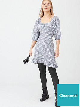 v-by-very-ruched-front-check-dress-blue-check