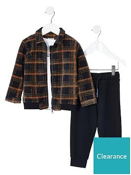 river-island-mini-boys-checked-bomber-t-shirt-amp-trouser-set-multi