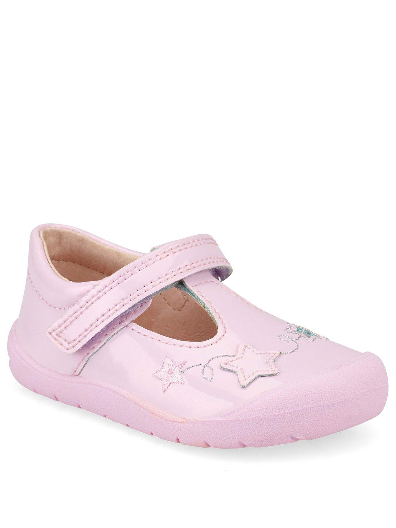 Girls T Bar  Casual Summer Shoes Flower Black,White,Pink AMY D906  sizes 7-13
