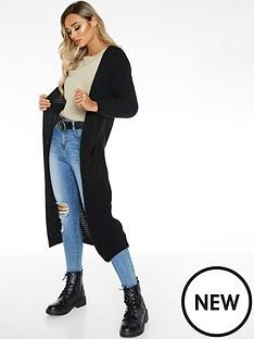 quiz-knit-long-length-cardigan-black