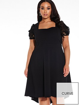 quiz-curve-square-neck-puff-lace-sleeve-scuba-crepe-dip-hem-dress-black