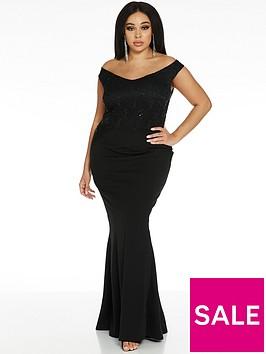 quiz-curve-half-sequin-lace-half-scuba-crepe-bardot-bridesmaid-maxi-dress-black