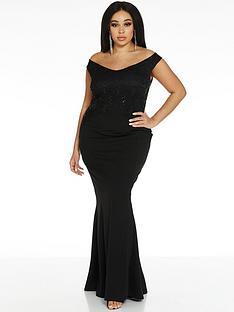 quiz-curve-half-sequin-lace-half-scuba-crepe-bardot-maxi-dress-black
