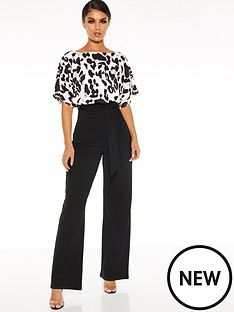 quiz-scuba-crepe-animal-print-batwing-sleeve-palazzo-jumpsuit-black