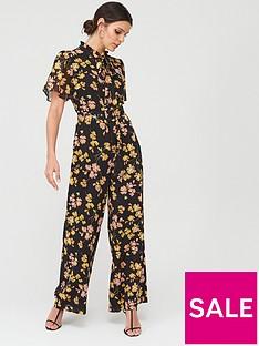 warehouse-warehouse-petal-print-angel-sleeve-jumpsuit