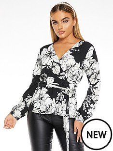 quiz-floral-wrap-top-blackcreamstone