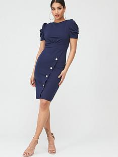 quiz-crepe-puff-sleeve-midi-dress-navy