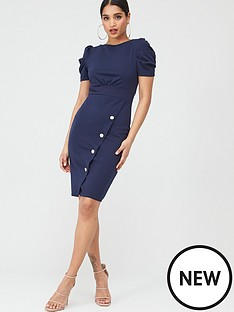 quiz-crepe-puff-sleeve-midi-dress-navy