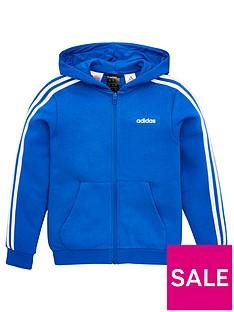 adidas-childrens-3-stripe-full-zip-hoodie-blue