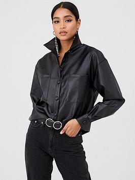 in-the-style-in-the-style-pu-leather-shirt-black