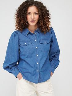 warehouse-puff-sleeve-shirt-blue