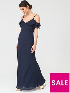 warehouse-warehouse-cold-shoulder-button-maxi-dress