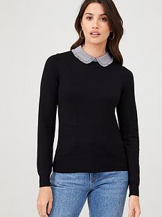 warehouse-gingham-frill-collar-jumper-black