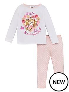 paw-patrol-girls-skye-glitter-print-good-night-pyjamas-white