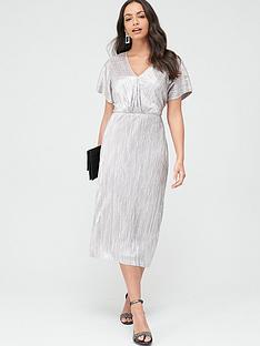 wallis-plisse-twist-front-dress-blush